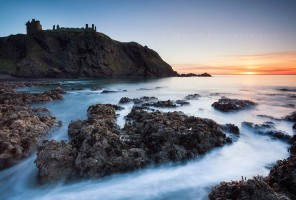 Easter morning on the Aberdeenshire coast looking towards the old ruined medieval fortress, Dunnottar Castle.