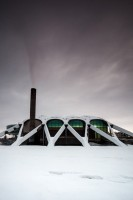 "The fabilous late 60's architecture of the ""Dollan Baths"", now the Dollan aqua centre, in the weekend's snow."