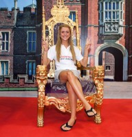 Laura Trott on Bradley Wiggin's throne, at Prudential RideLondon Cycle Show. Friday 2 August 2013