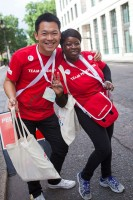Volunteers at Prudential RideLondon FreeCycle. Saturday 3 August 2013.
