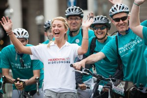 Laura Trott starts the first ever Prudential RideLondon FreeCycle. Saturday 3 August 2013.