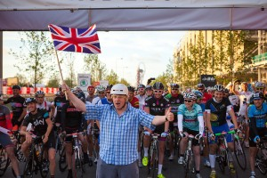 Mayor of London, Boris Johnson,  starts the first ever Prudential RideLondon-Surrey 100mile sportive. Sunday 4 August 2013.