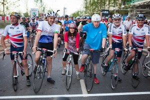 Mayor of London, Boris Johnson,  starts his 100, Prudential RideLondon-Surrey 100mile sportive. Sunday 4 August 2013.