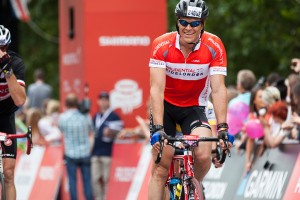 Olympic gold medalist rower, James Cracknell, completes the inaugural Prudential RideLondon-Surrey 100mile sportive. Sunday 4 August 2013.