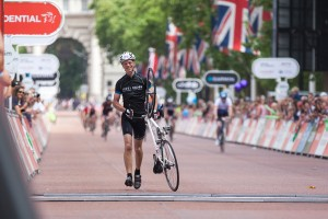 Finish line, Prudential RideLondon-Surrey 100mile sportive. Sunday 4 August 2013.