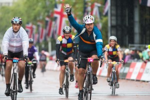 John Torode, Prudential RideLondon, London-Surrey 100, finish line – London. 10 August 2014