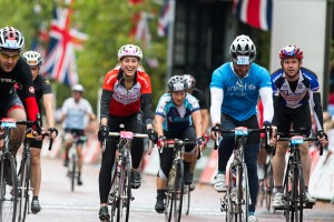 Olympic gold medalist, Amy Williams, Prudential RideLondon, London-Surrey 100, finish line – London. 10 August 2014