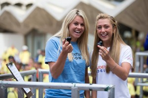 Chemmy Alcott & Laura Trott start the world record attempt at Prudential RideLondon  FreeCycle. Saturday 9 August 2014.