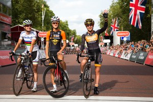Marianne Vos, Lizzie Armitstead & Laura Trott. Prudential RideLondon, Grand Prix – pro women's criterium race on The Mall, London. 9 August 2014.
