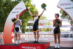 Giorgia Bronzini, Marianne Vos & Lizzie Armitstead, podium presentation – Prudential RideLondon, Grand Prix – pro women's criterium race on The Mall, London. 9 August 2014