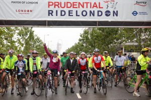 Prudential RideLondon, London-Surrey 100 – start of the mass participation sportive at the Queen Elizabeth Olympic Park, London. 10 August 2014
