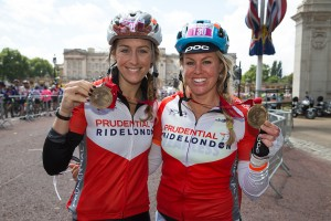 Olympians, Amy Williams & Chemmy Alcott, Prudential RideLondon, London-Surrey 100, finish line – London. 10 August 2014