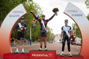 Adam Blyth, Ben Swift, Julian Alaphilippe podium presentation –  Prudential RideLondon, Classic – Pro men's race through Surrey and the city of London, finishing on the Mall. 10 August 2014