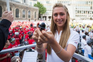 Laura Trott starts the world record attempt at Prudential RideLondon  FreeCycle. Saturday 9 August 2014.
