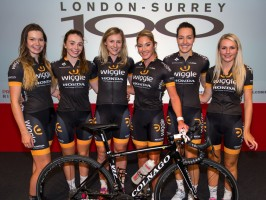 Team Wiggle Honda (Amy Roberts, Eileen Roe, Annette Edmondson, Rochelle Gilmore, Dani King, Anna Christian) at Prudential RideLondon Cycle Show at the London Excel. Friday 31 July 2015. Photographer: Stuart Stevenson.