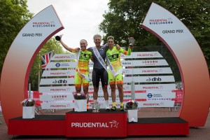 Barbara Guarischi, Podium presentation, Pro women's criterium  race on the Mall, London. Saturday 1 August 2015. Photographer: Stuart Stevenson