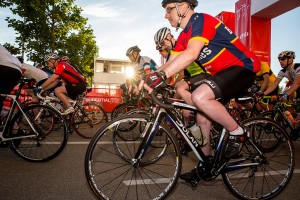 Start line, Prudential RideLondon 100 mile amateur sportive. Queen Elizabeth Olympic Park, ahead of Sunday 2 August 2015. Photographer: Stuart Stevenson