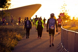 Sunrise over the Olympic Velodrome, Queen Elizabeth Olympic Park, ahead of Prudential RideLondon 100 mile amateur sportive. Sunday 2 August 2015. Photographer Stuart Stevenson