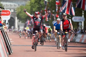 Finish line, Prudential RideLondon 100 mile amateur sportive. Queen Elizabeth Olympic Park, ahead of Sunday 2 August 2015. Photographer: Stuart Stevenson
